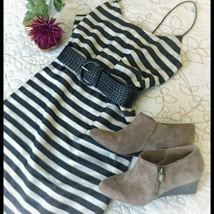 J. Crew Striped Black & White Dress Elastic Waist